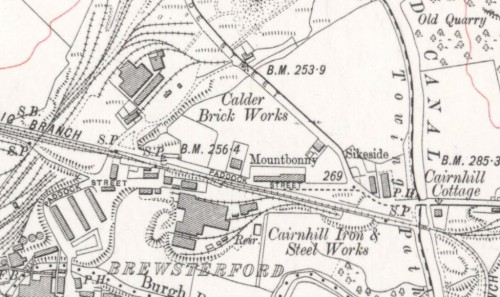 Below - 1911 OS Map Calder Brick Works