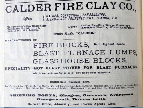 Calder Fire Clay Company Coatbridge Advert