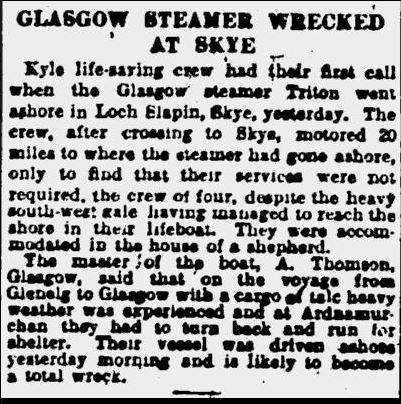 Steamer wrecked at Skye