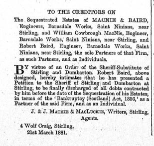 1881 macnie and baird bankrupt
