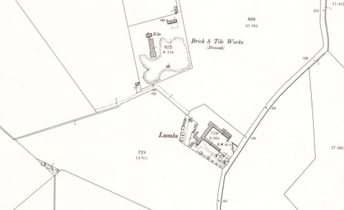 Below - 1901 OS Map Lumbs Brick and Tile Works, Lonway