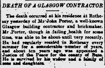 John Porter dies 1911