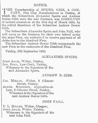 SPEIR AND GIBB PAISLEY DISSOLVED 1885