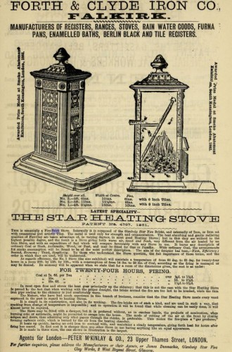 1882 Forth and Falkirk Iron Co Falkirk advert - makers of the Start Heating Stove - protected by Glenboig Starworks bricks
