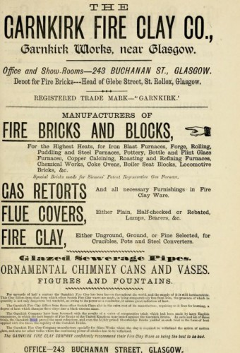 1882 Garnkirk Fireclay Company advert