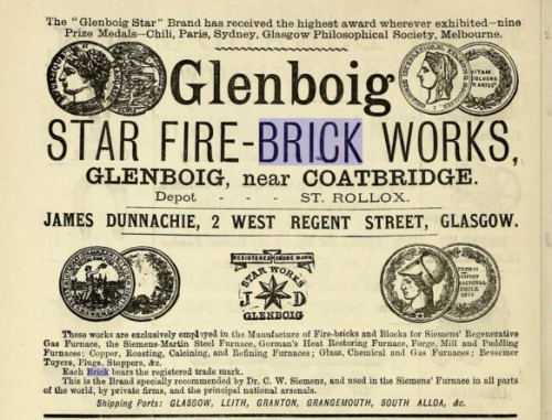 1882 Glenboig Star fire brick works Coatbridge advert