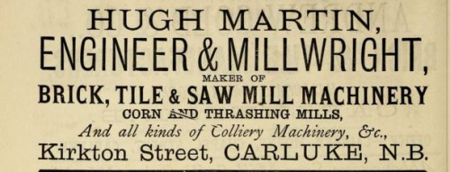 1882 Hugh Martin brick machine maker, Carluke