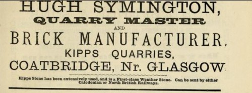 1882 Hugh Symington quarry master kipps quarries coatbridge
