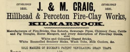 1882 J & M Craig Hillhead Perceton Kilmarnock advert