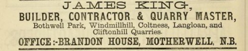 1882 James King Quarrymaster Bothwell Park Windmill hill Motherwell advert