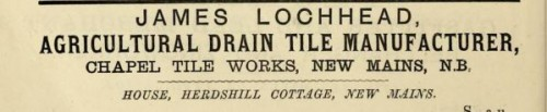 1882 James Lochhead drainage tile maker Chapel tile works Newmains