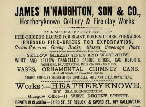 1882 James McNaughton Heatheryknowe Fire Clay Works Advert