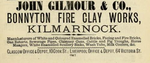 1882 John Gilmour Bonnyton Brickworks Kilmarnock advert