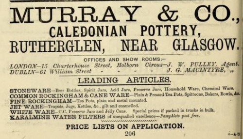 1882 Murray & Co Caledonian Pottery Glasgow advert