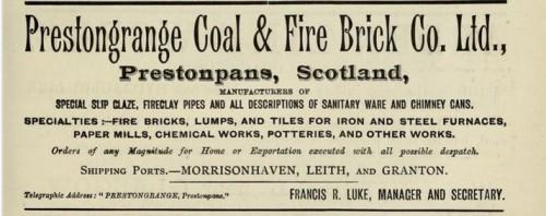 1893 Prestongrange fire brick francis luke