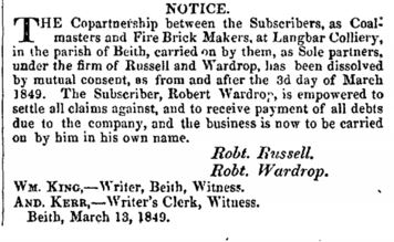 Longbar colliery 1849