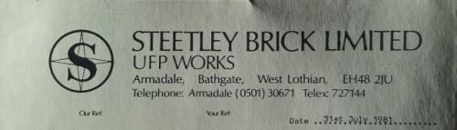 Steetley letterhead