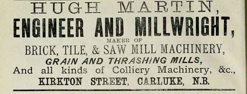 hugh martin brick machine maker advert carluke 1886
