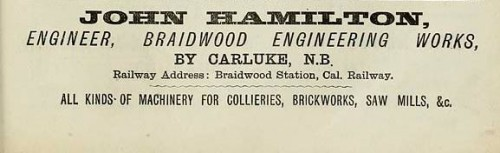 john hamilton brick machine maker braidwood carluke advert 1886