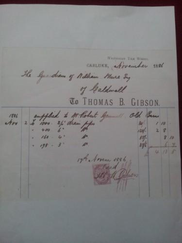 Thomas B Gibson Whiteshaw Tile Works Carluke headed notepaper
