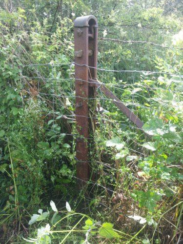 M Bain & Co Coatbridge - iron fence post at Bonshaw