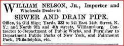 1872 WILLIAM NELSON NEW YORK SEWER AND DRAIN TRAP IMPORTER