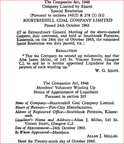 bOUTREEHILL cOAL cOMPANY DISSOLVED oct 1963