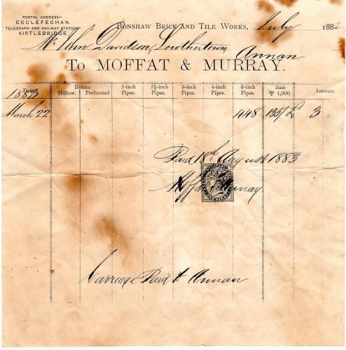 Moffat and Murray Bonshaws brickmakers invoice 1883