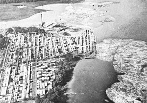 Aerial photograph of the Gilmour and Hughson sawmill, at the mouth of Brewery Creek, at the Eastern end of today's Jacques Cartier Park, in Gatineau, around 1925