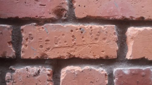Village hall in Ayton made from Linthill brick boot print