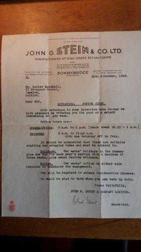 John Stein & Co Ltd letterhead memorabilia - harley marshall