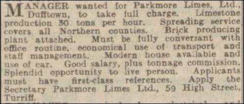 Parkmore Limes Limited Dufftown Scotland S Brick